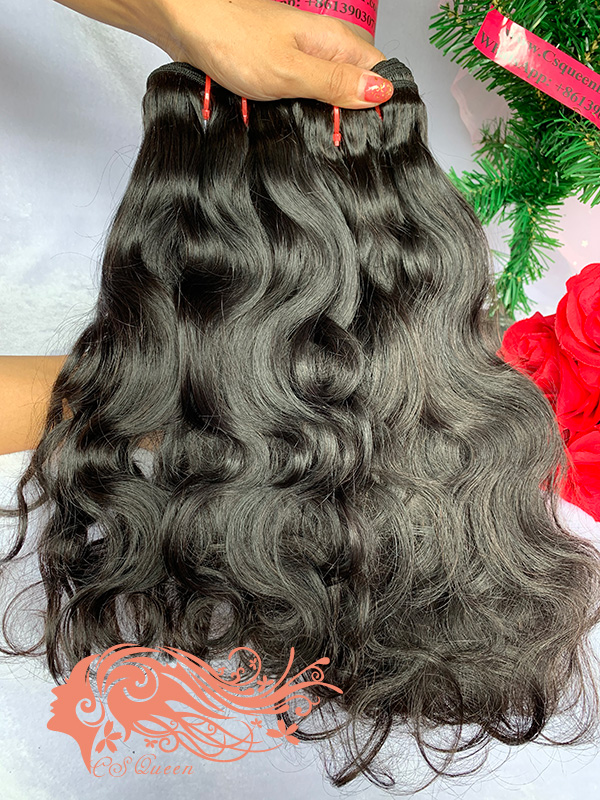 Csqueen Mink hair Ocean Wave 6 Bundles Natural Black Color 100% Human Hair