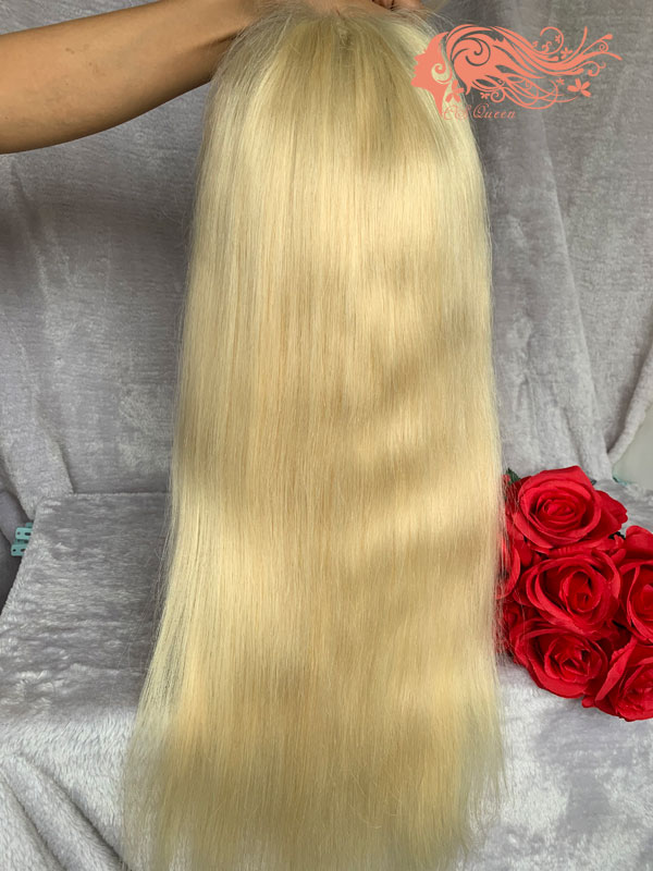 Csqueen Mink hair Straight Frontal WIG #613 Blonde 100% Virgin Hair 150%density