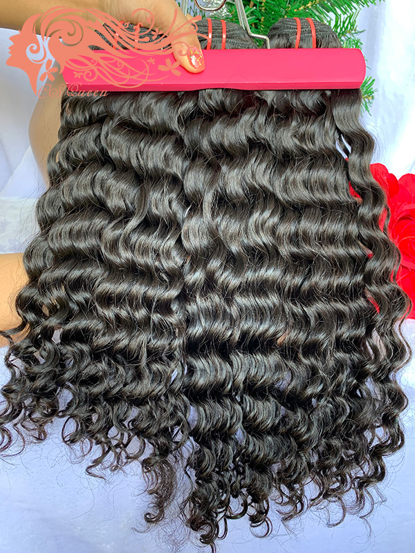 Csqueen Raw Bounce Curly Hair Weave 3 Bundles with 4 * 4 Light Brown Lace Closure Raw Hair