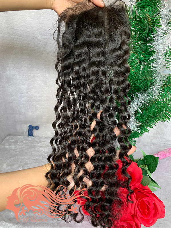 Csqueen Raw Bounce Curly Raw hair 4X4 Free Part Light Brown Lace Closure Raw Hair