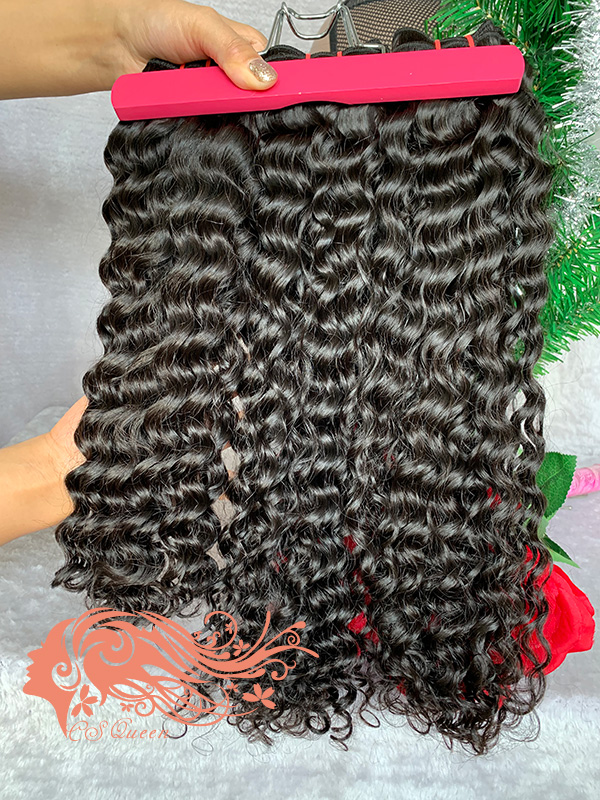 Csqueen Raw Burmese Curly 3 Bundles Natural Black Color 100% Human Hair