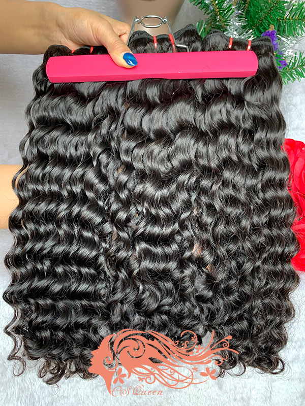 Csqueen Raw Burmese Curly 4 Bundles Natural Black Color 100% Human Hair