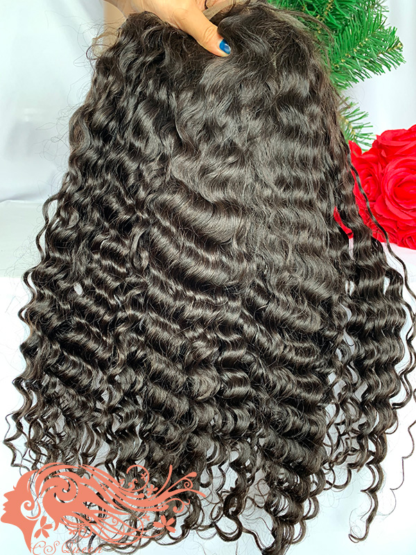 Csqueen Raw Burmese Curly Full lace WIG 100% Human Hair 200%density