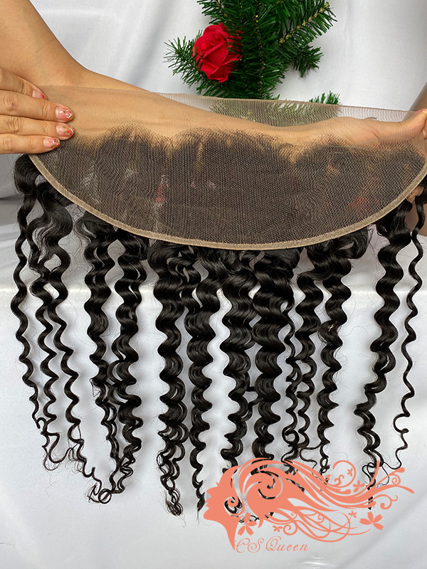 Csqueen Raw Burmese Curly Raw hair 13x4 Light Brown Lace Frontal 100% Human Hair