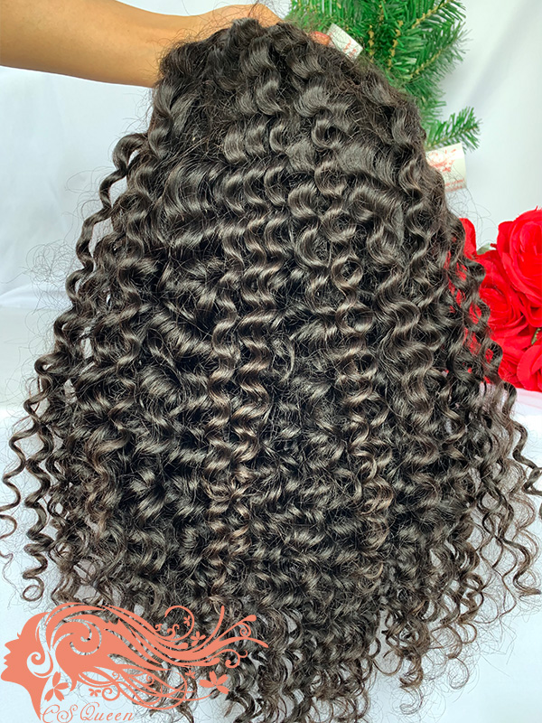Csqueen Raw Burmese Curly U part wig 100% Human Hair 150%density