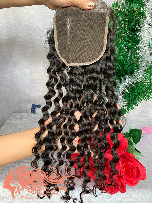 Csqueen Raw Burmese Curly 3 Bundles with 4 * 4 Light Brown Lace Closure Human Hair