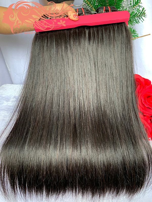 Csqueen Raw Hair Straight Hair 4 Bundles Natural Black Color Straight Hair