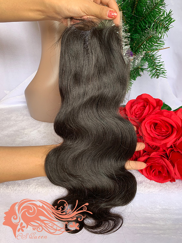 Csqueen Raw Light Wave Raw hair 4X4 Free Part Light Brown Lace Closure 100% Unprocessed Raw Hair