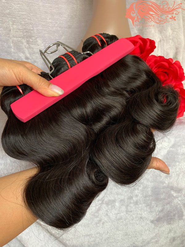 Csqueen Raw Line Wavy 3 Bundles with Frontal virgin Hair