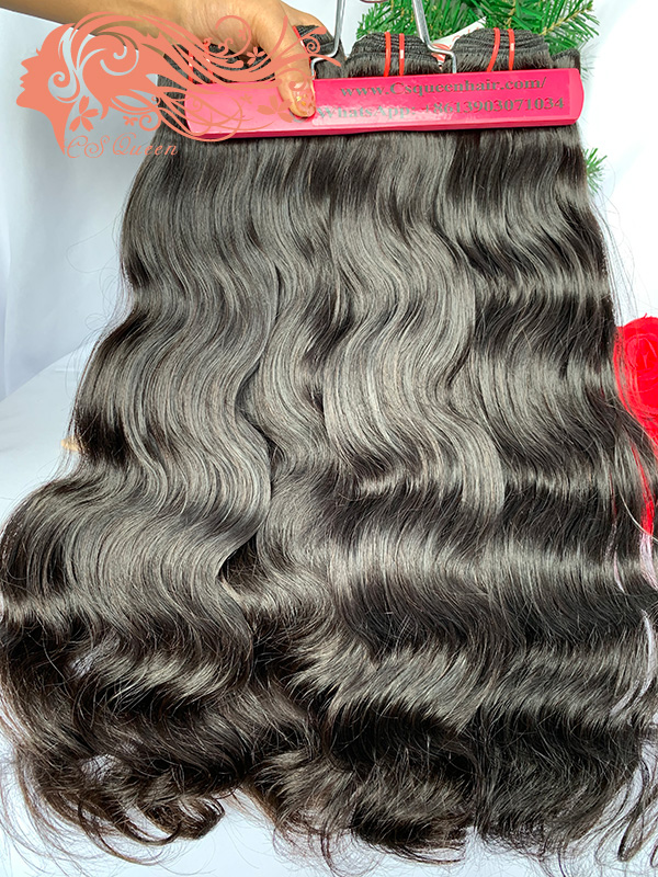 Csqueen Raw Line Wave 2 Bundles with 4 * 4 Light Brown Lace Closure Human Hair