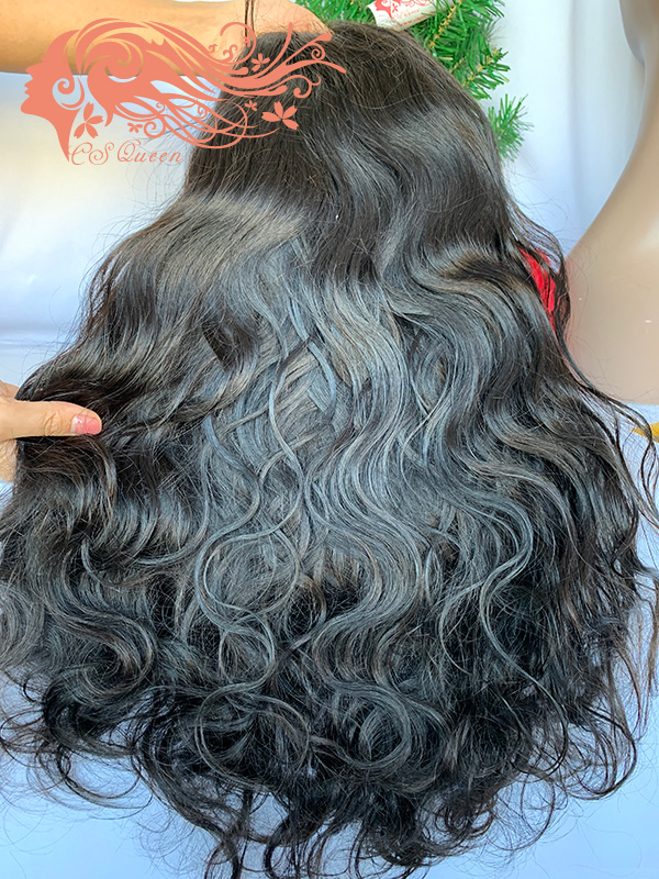 Csqueen Raw Line Wavy 13*4 Transparent Lace Frontal WIG 100% natural hair wigs 200%density