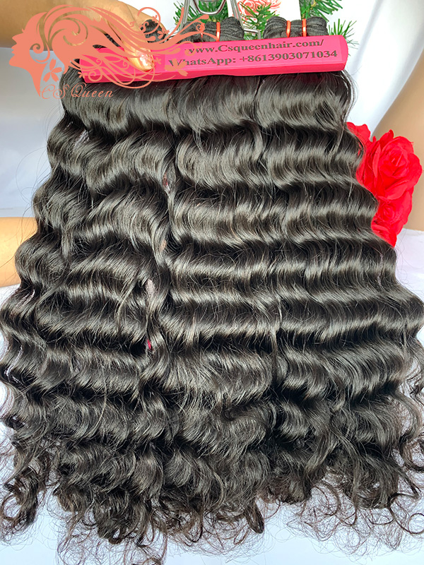 Csqueen Raw Mermaid Wave 3 Bundles with 4 * 4 Light Brown Lace Closure Unprocessed hair