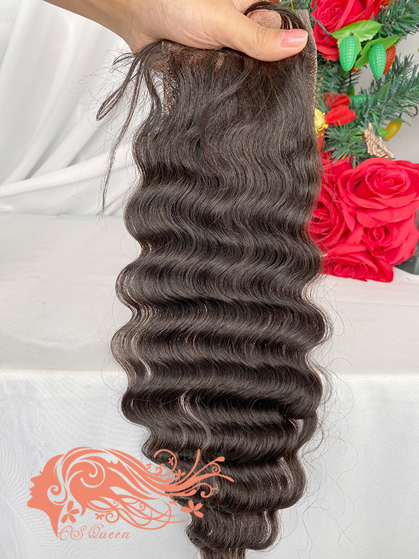Csqueen Raw Mermaid Wave 4*4 Transparent Lace closure Free Part 100% Unprocessed Hair