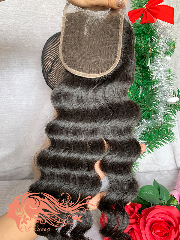 Csqueen Raw Mermaid Wave Raw hair 4X4 Free Part Light Brown Lace Closure 100% Unprocessed Hair