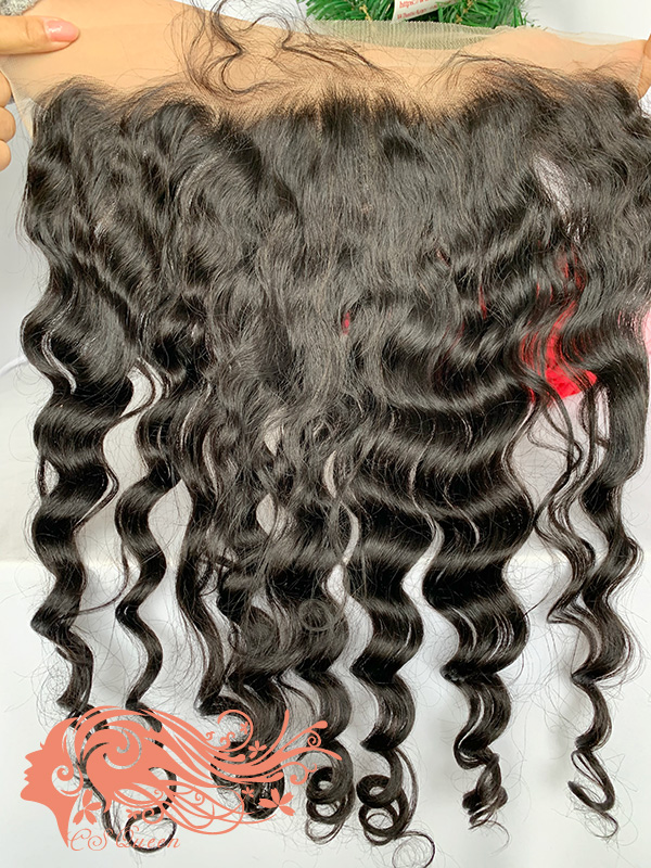 Csqueen Raw Mermaid Wave 13*4 Transparent lace frontal 100% Human Hair