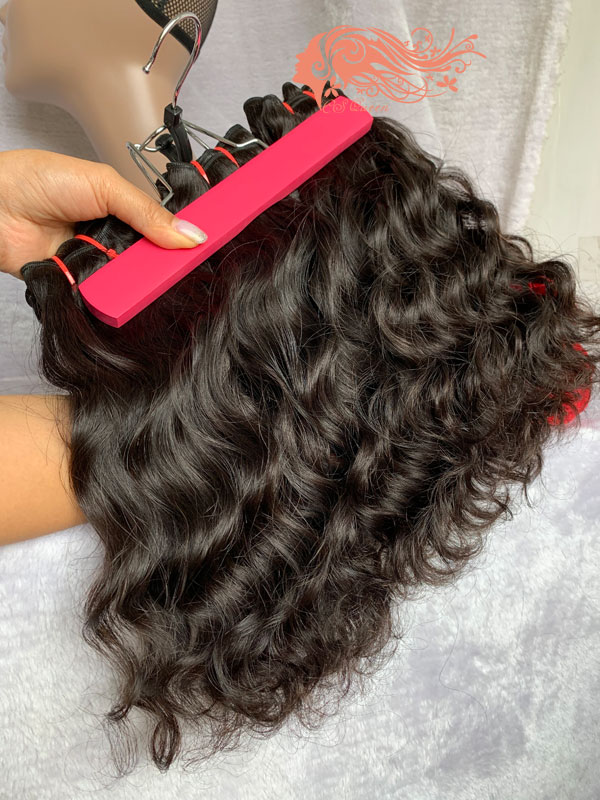 Csqueen Raw Mermaid Wave 3 Bundles with Frontal Human hair