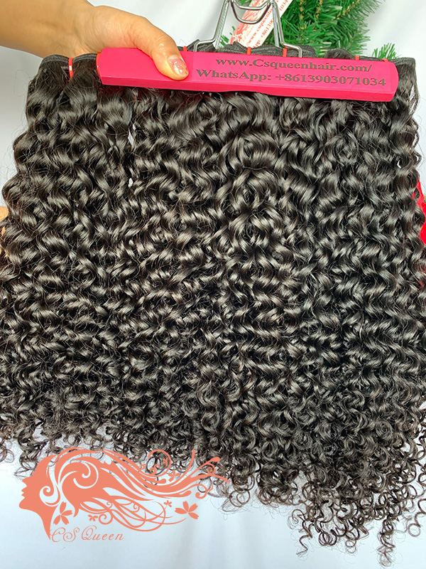 Csqueen Raw Natural Curly 3 Bundles with 4 * 4 Light Brown Lace Closure Unprocessed hair