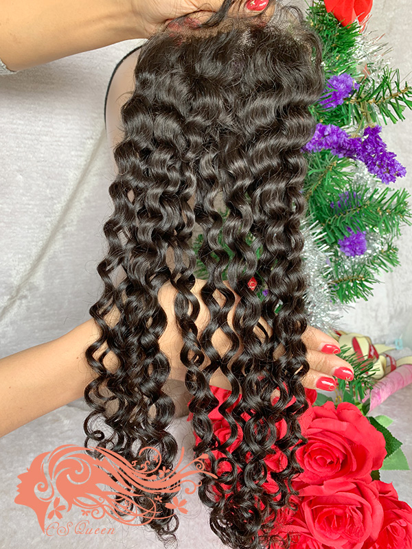 Csqueen Raw Natural Curly 4*4 Transparent Lace closure Free Part 100% Human Hair