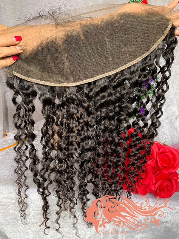 Csqueen Raw Natural Curly Raw hair 13x4 Light Brown Lace Frontal 100% Human Hair