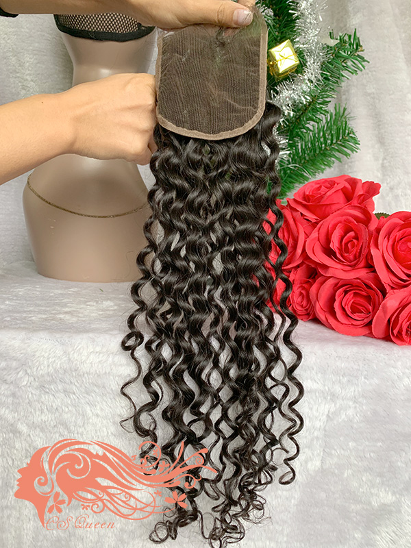 Csqueen Raw Natural Curly Raw hair 4X4 Free Part Light Brown Lace Closure 100% Human Hair