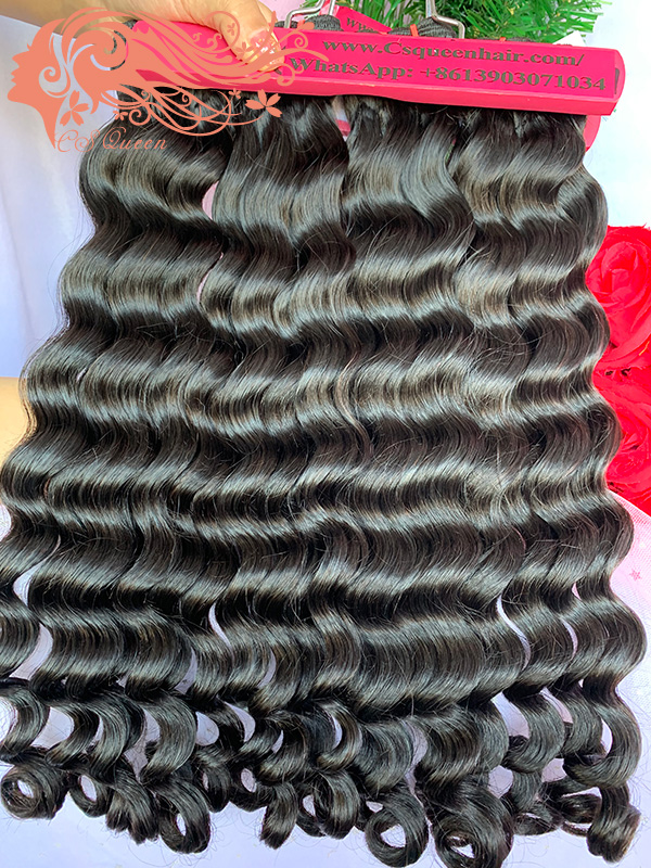 Csqueen Raw Rare Wave 3 Bundles with 4 * 4 Light Brown Lace Closure Raw Hair