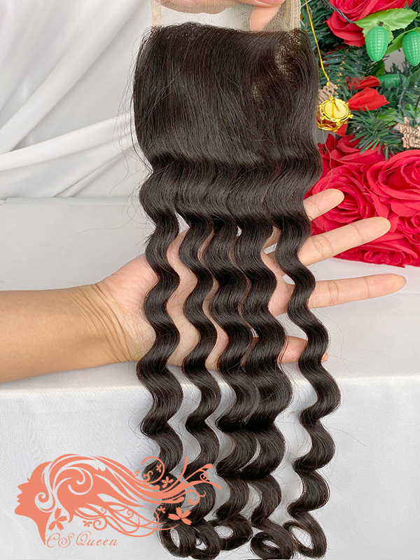 Csqueen Raw Rare Wave 4*4 Transparent Lace closure Free Part 100% Unprocessed Hair