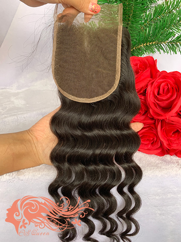 Csqueen Raw Rare Wave Raw hair 4X4 Free Part Light Brown Lace Closure 100% Unprocessed Hair