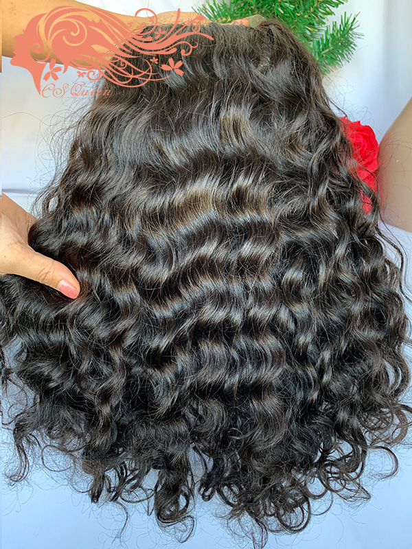 Csqueen Raw Rare wave 4*4 light browm lace Closure wig 100% human hair 180%density lace wig