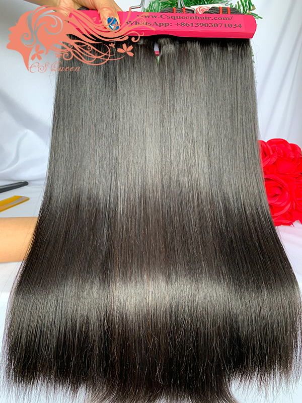 Csqueen Raw Straight Hair 3 Bundles with 4 * 4 Light Brown Lace Closure 100%Human Hair