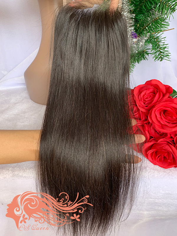 Csqueen Raw Straight Raw hair 4X4 Free Part Light Brown Lace Closure 100% Unprocessed Hair