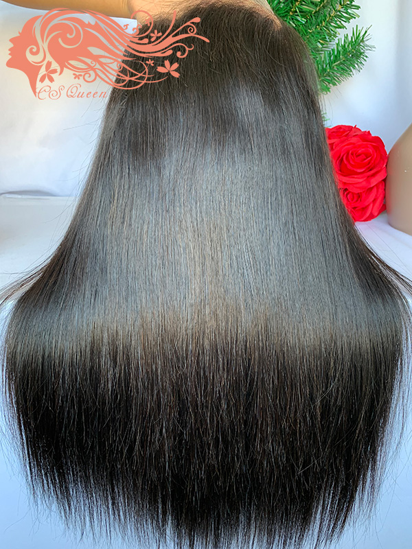 Csqueen Raw Straight hair 5*5 Transparent lace Closure Wig 100% Raw Hair 180%density