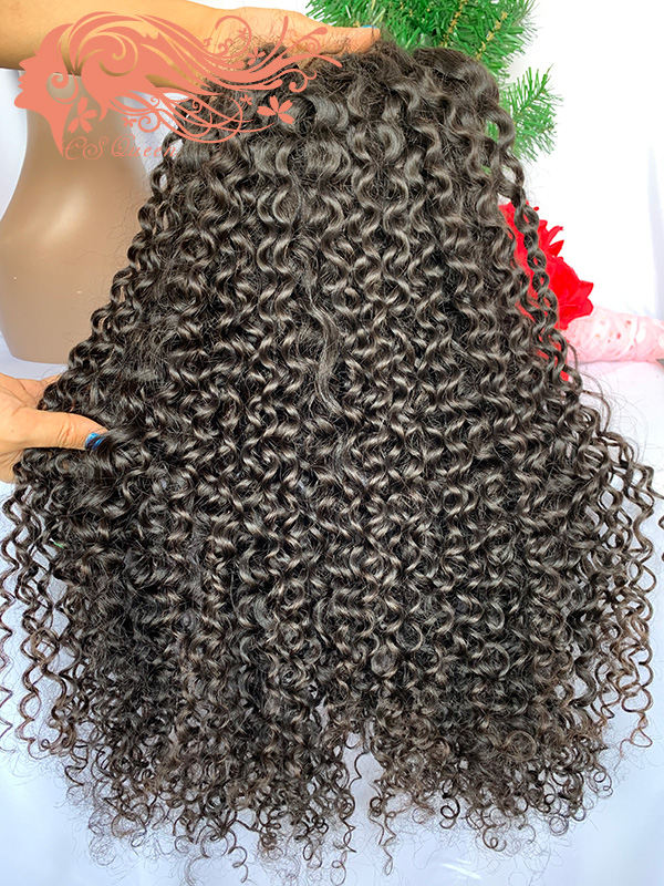 Csqueen Raw natural Curly 4*4 Transparent Lace Closure wig 100% Human Hair Transparent Wig 200%density