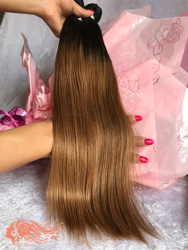 Csqueen Mink hair Ombre Color 1B/27# Straight Hair 3 Bundles Virgin Hair
