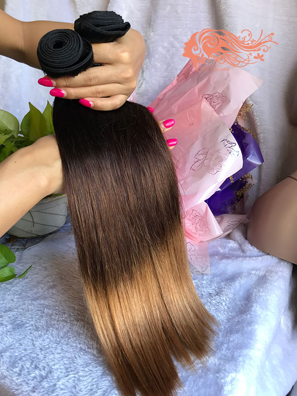 Csqueen Mink hair Ombre Color 1B/4/27# Straight Hair 3 Bundles Human Hair