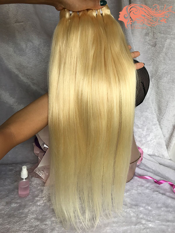Csqueen Mink hair 613 Blonde Straight hair 3Bundles with Closure Unprocessed Hair Human Hair