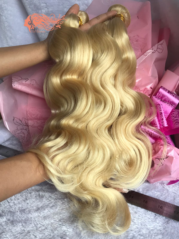 Csqueen Mink hair 613 Blonde Body wave Human Hair Bundles Unprocessed Hair