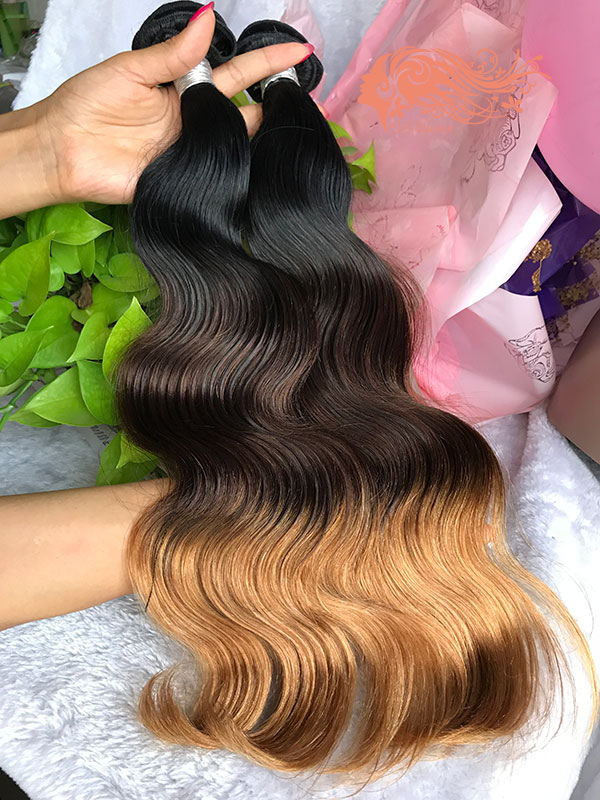 Csqueen Mink hair Ombre Color 1B/4/27# Body Wave Hair 3 Bundles virgin Hair