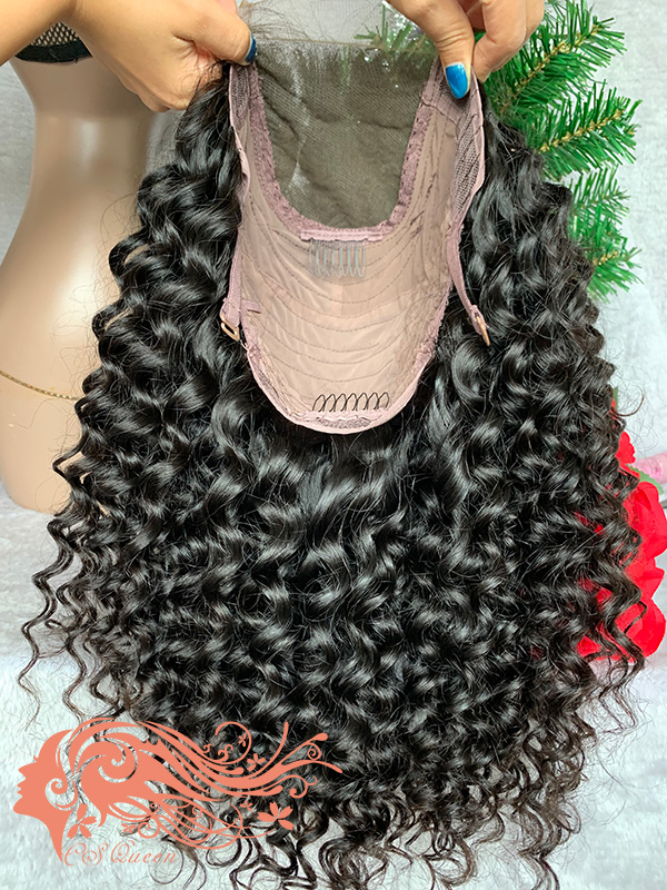 Csqueen Mink hair Jerry Curly Closure wig 100% Virgin Hair 180%density Human Hair