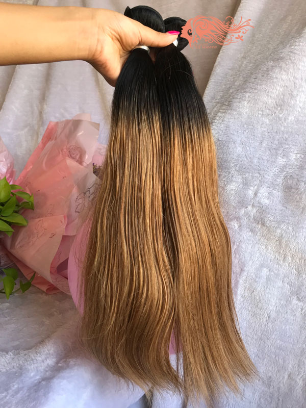Csqueen 9A Ombre Color 1B/27# Straight Hair 3 Bundles Virgin Hair