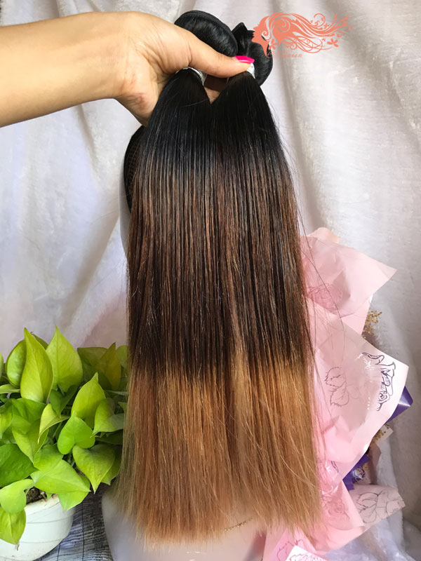Csqueen 9A Ombre Color 1B/4/27# Straight Hair 3 Bundles Human Hair
